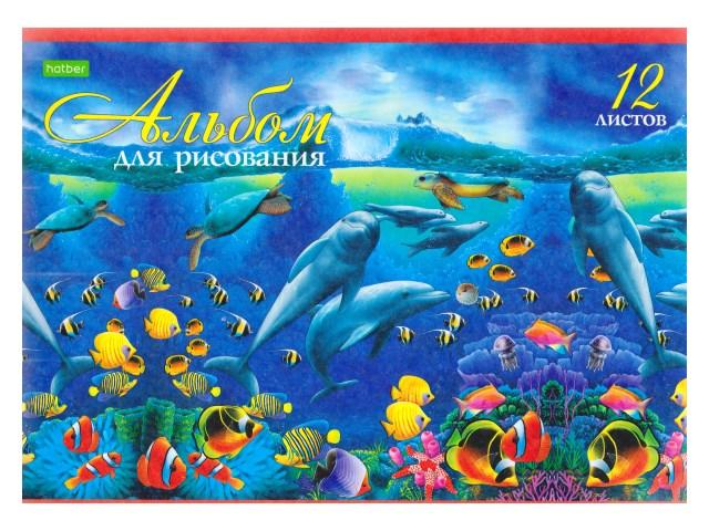 Альбом 12л А4 на скобах Дельфины 100 г/м2 Hatber 12А4С