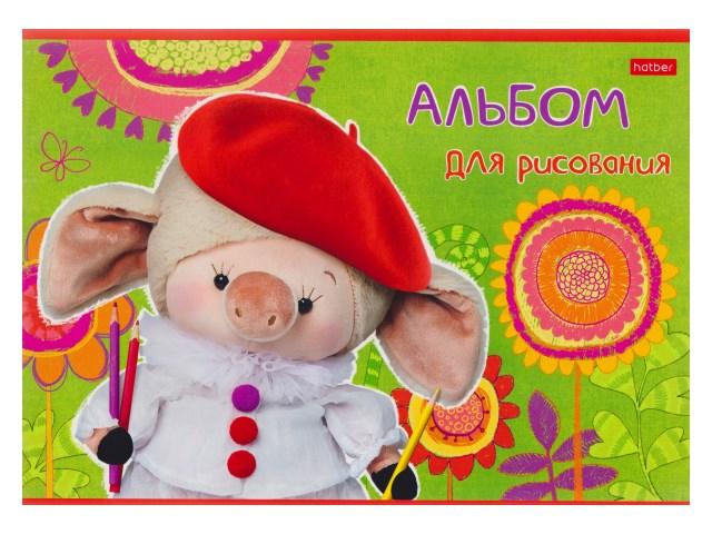 Альбом 16л А4 на скобах Свинки-художники 100 г/м2 Hatber 16А4В