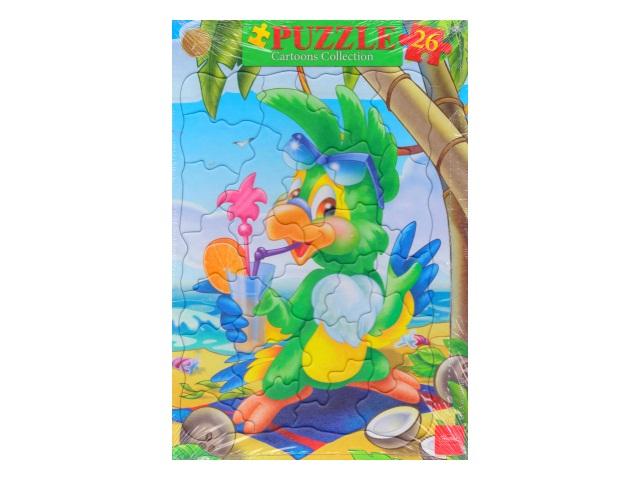 Пазлы в рамке Hatber 26 деталей Яркий попугай 26ПЗ4_13198