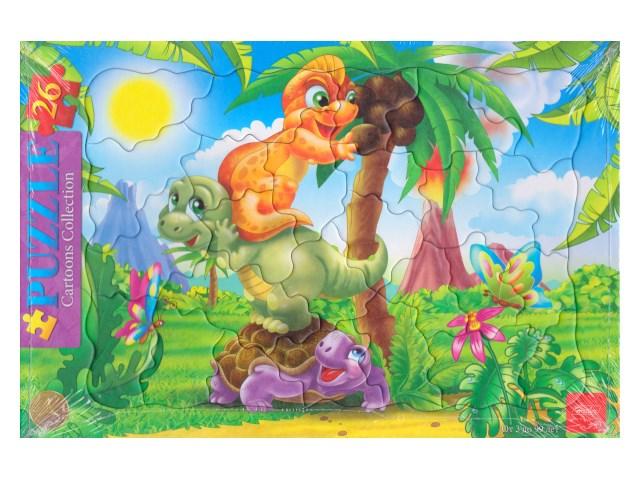 Пазлы в рамке Hatber 26 деталей Веселые динозавры 26ПЗ4_03262