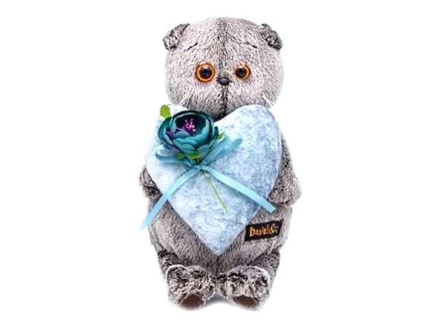 Мягкая игрушка Басик с сердцем из бархата 19 см Ks19-107
