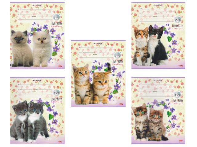 Тетрадь 12л узкая линия Котята в фиолетовых цветах Profit 12-0196