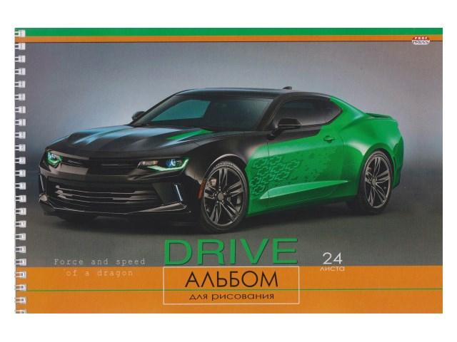 Альбом 24л А4 спираль Черно-зеленое авто 100 г/м2 Prof Press 24-1269