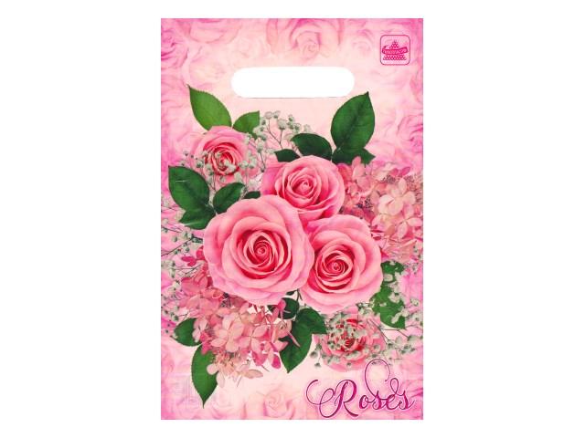 Пакет подарочный прорезные ручки 30*20см Воздушные розы Miland н00157183