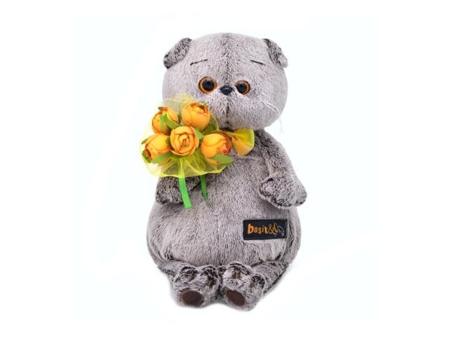Мягкая игрушка Басик с букетом оранжевых пионов 19 см Ks19-117