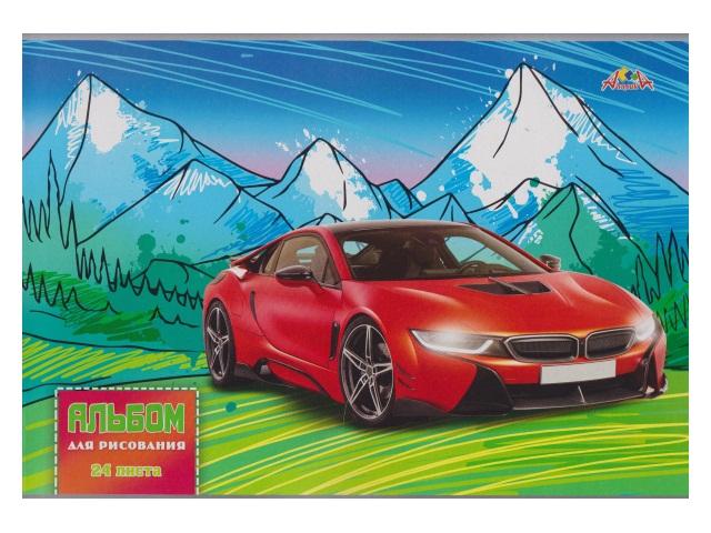 Альбом 24л А4 на скобах Красный автомобиль 100 г/м2 Апплика С4591-04