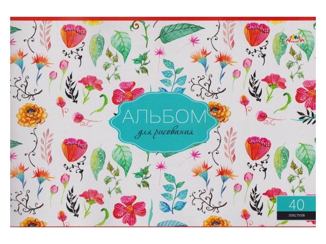 Альбом 40л А4 на скобах Цветочный принт 100 г/м2 Апплика С0220-47
