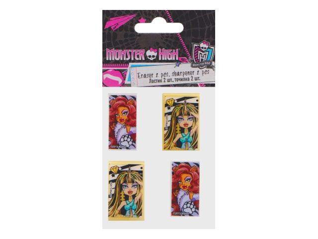 Точилка 2шт + ластик 2шт Monster High Академия Групп MHBB-US1-2204-H
