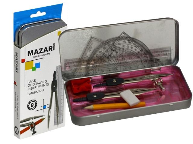 Готовальня  9 предметов Mazari M-4501