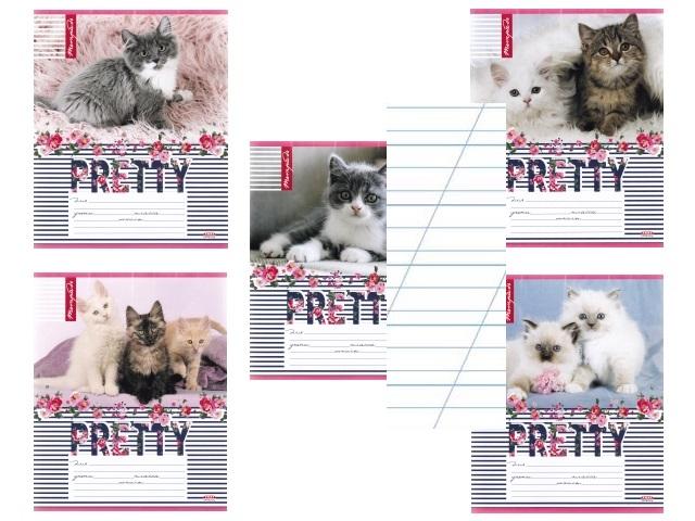 Тетрадь 12л косая с доп.линией Очаровательные котята Profit 12-4299