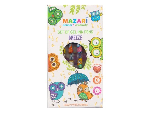Ручка гелевая детская набор  6цв Mazari Breeze 0.8мм с глиттером M-5516-6