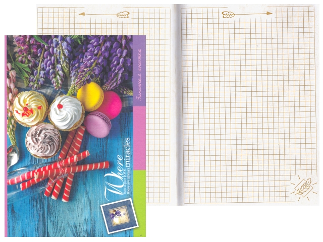 Записная книжка А5 тв/переплёт 128л Цветные пирожные Miland 128-6260