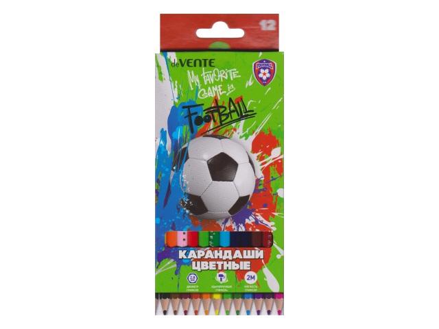 Карандаши цветные 12цв DeVente Football шестигранные 5022905
