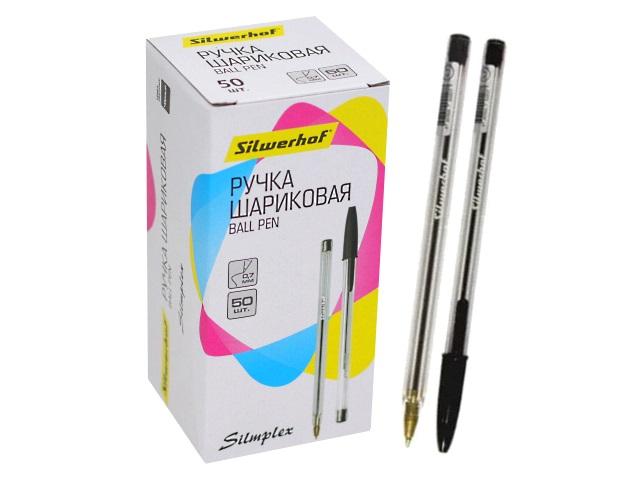 Ручка шариковая Silwerhof Simplex черная 0.7мм 016045-02