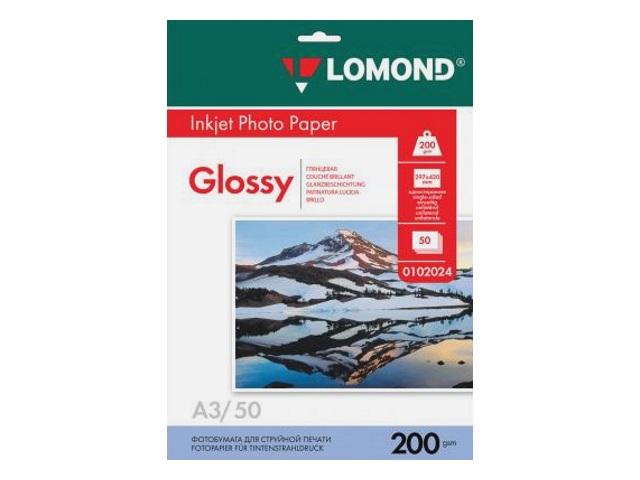 Фотобумага А3 Lomond глянцевая 200 г/м2 50л 0102024