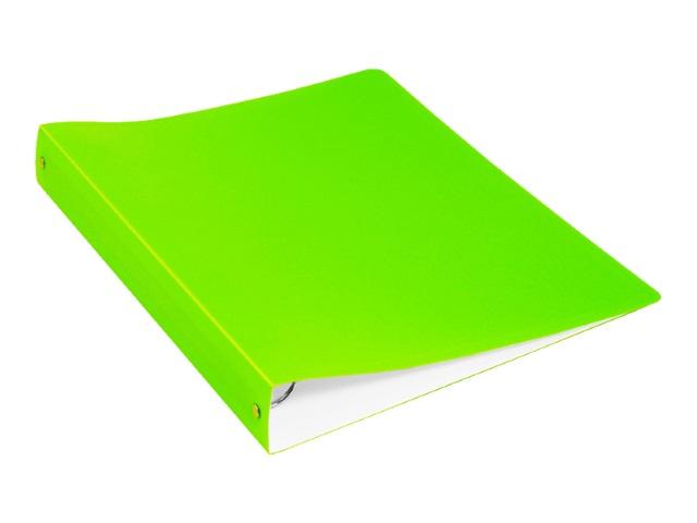 Папка 4 кольца А4 40мм d=35мм Бюрократ Double Neon 0.7мм с карманом салатовая DNE0740/4Rlett