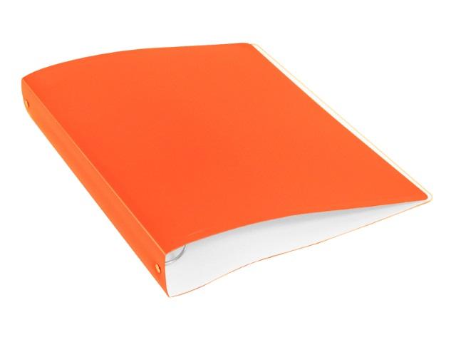 Папка 4 кольца А4 40мм d=35мм Бюрократ Double Neon 0.7мм с карманом оранжевая DNE0740/4Ror