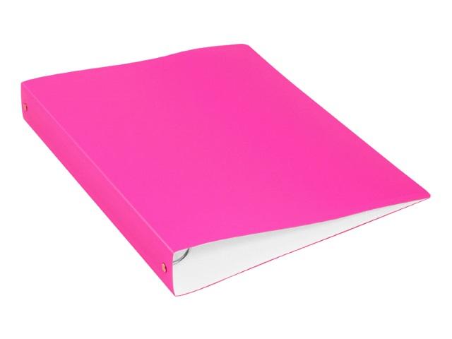 Папка 4 кольца А4 40мм d=35мм Бюрократ Double Neon 0.7мм с карманом розовая DNE0740/4pink