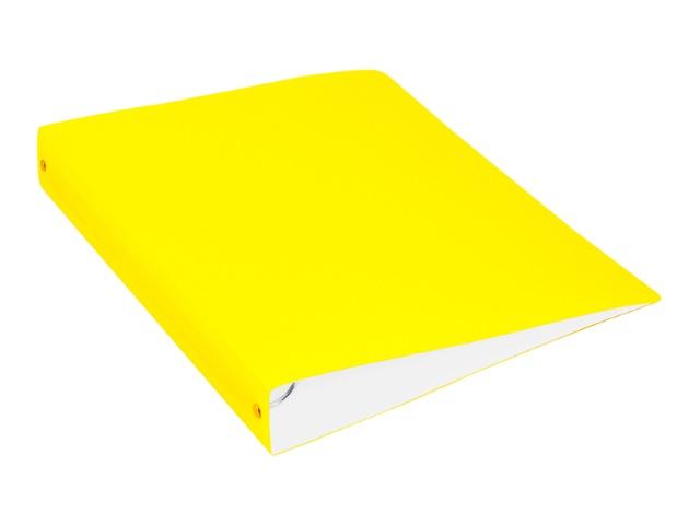 Папка 4 кольца А4 40мм d=35мм Бюрократ Double Neon с карманом желтая DNE0740/4Ryel