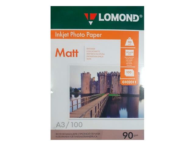 Фотобумага А3 Lomond матовая 90 г/м2 100л 0102011