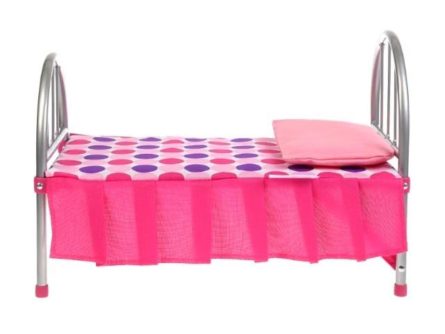 Кровать для куклы металл со спальным набором Карапуз MB-1-19-C1