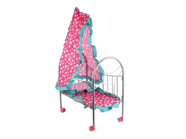 Кровать для куклы металл со спальным набором Карапуз MB-4-C1