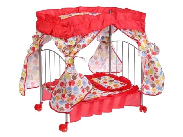 Кровать для куклы металл с балдахином и спальным набором Карапуз MB-3-19-C1