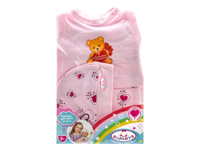 Одежда для пупса 40-42см Медведь с сердечком Карапуз OTF-1902SH-RU
