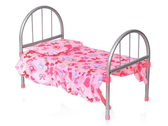 Кровать для куклы металл с подушкой M9342