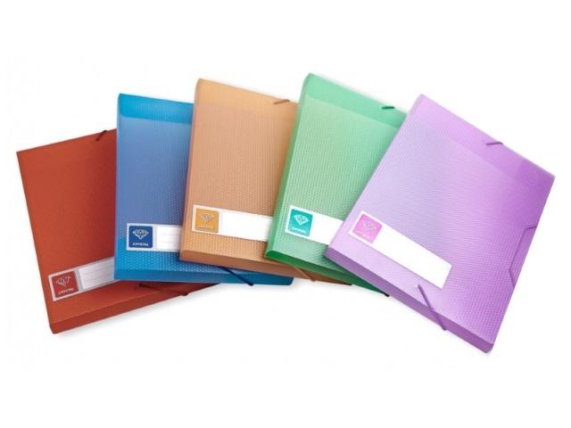 Папка архивная пластик на резинке А5 4см Бюрократ Crystal цветная CR510A5
