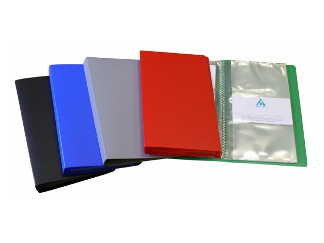 Визитница на  60 карт 11*19.2см пластик цветная Бюрократ VZ60K
