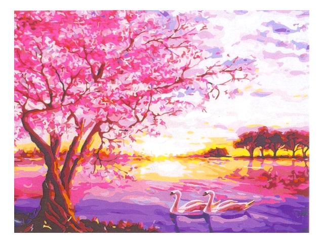 Холст 30*40см Розовый закат на озере по номерам Рыжий кот Х-6887