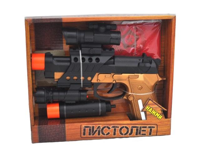 Пистолет на батарейках 22см с фонариком и глушителем Играем вместе 0095