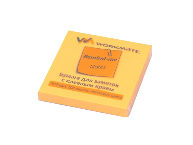 Стикер 75* 75мм 100л неон оранжевый WM 003001312