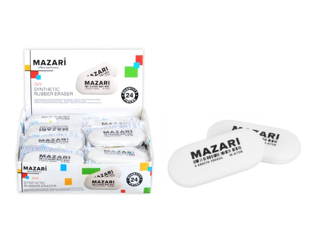 Ластик Mazari Ovy овальный белый M-6758