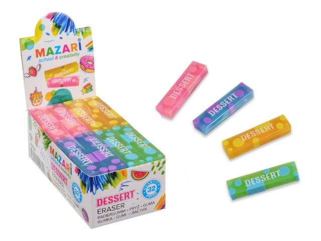 Ластик Mazari Dessert прямоугольный цветной M-6768