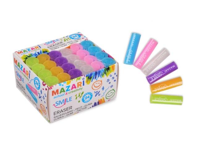 Ластик Mazari Smile цилиндр цветной M-6772\24