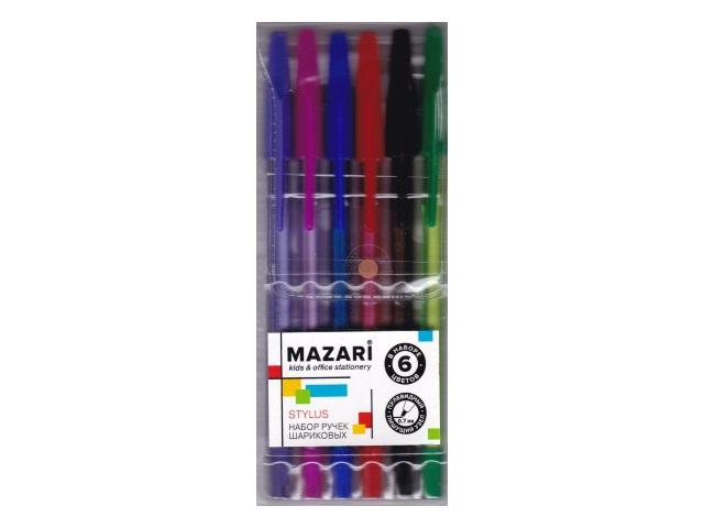 Ручка шариковая набор  6цв Mazari Stylus 0.7мм М-7302-6