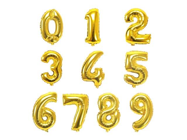 Шар фольгированный Цифра золото/серебро ассорти 32 дюйма