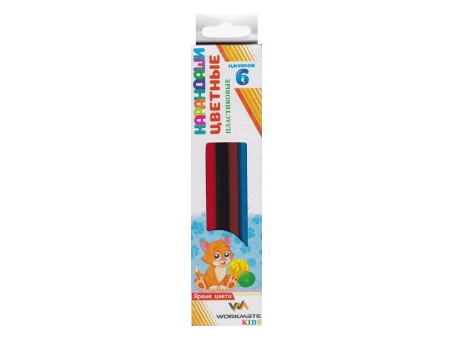 Карандаши цветные  6цв WM пластик шестигранные 171600300