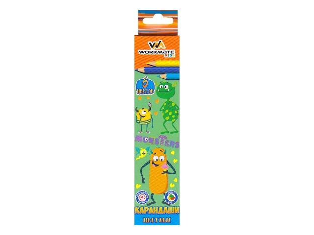 Карандаши цветные  6цв WM пластик шестигранные 171600400