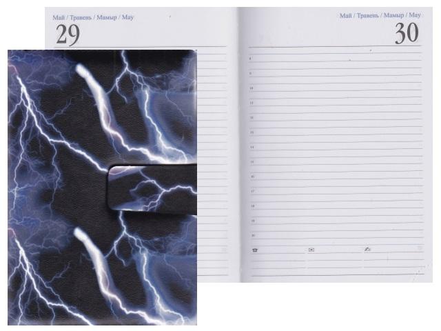 Ежедневник А5 полудатированный кожзам 192л Молния на магните J.Otten 6177