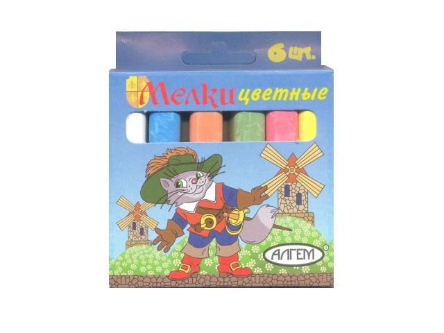 Мел  6 цветов квадратный Алгем НМЦ-6