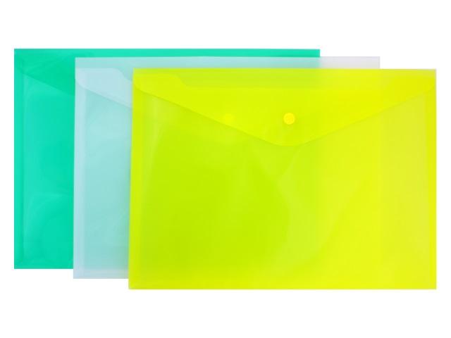 Папка конверт на кнопке А4 цветная прозрачная Kanzfile КНК-180-ПП
