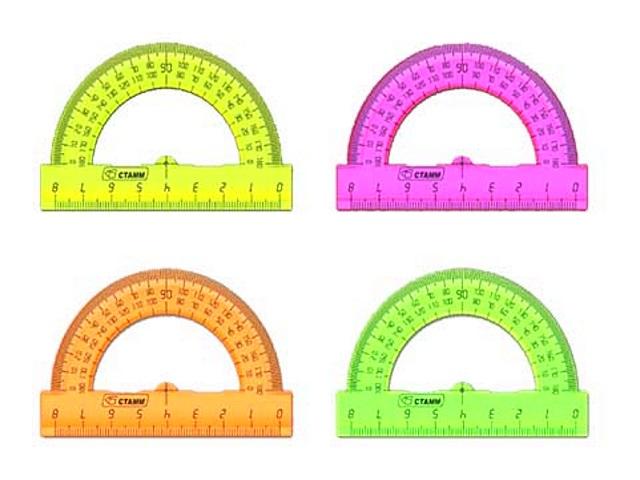 Транспортир  8 см 180* неон цветной Cristal Стамм ТР010