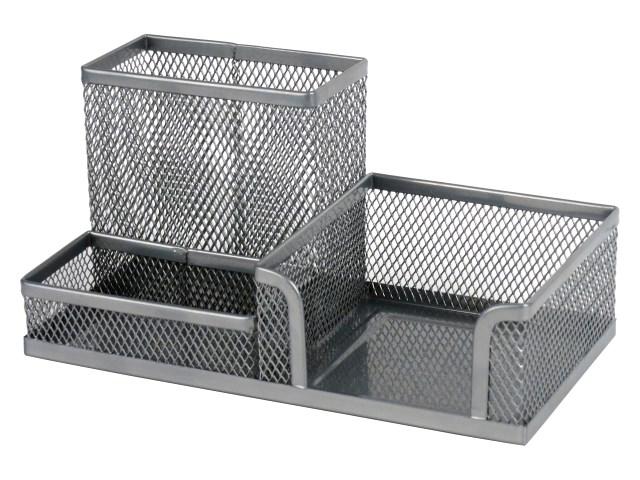 Подставка-органайзер Axent 3 отделения металл сетка серая 2116-03-A