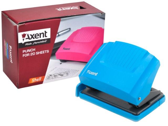 Дырокол на  20л Axent пластик Shell голубой 3420-07-A