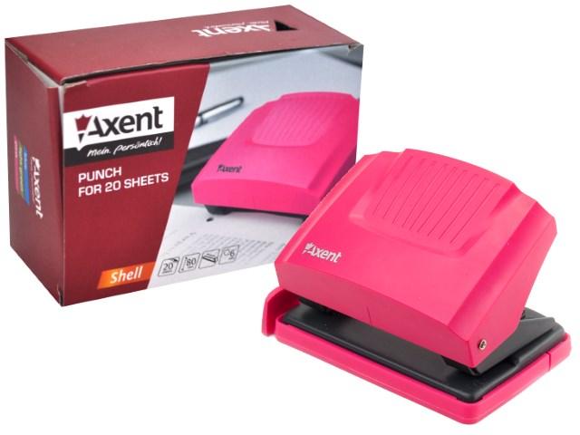 Дырокол на  20л Axent пластик Shell розовый 3420-10-A