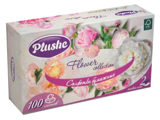 Салфетки бумажные  однослойные 100 шт. белые Plushe