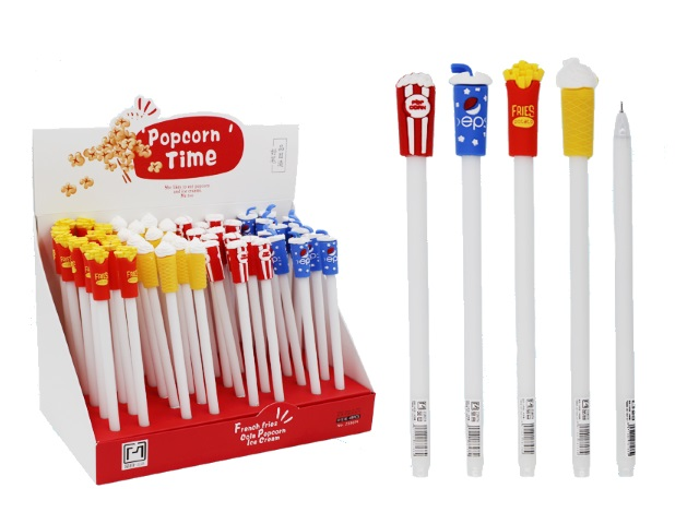 Ручка гелевая детская Basir Popcorn Time синяя 0.5мм Z18074